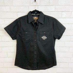 Harley Davidson Black Denim Collared Shirt